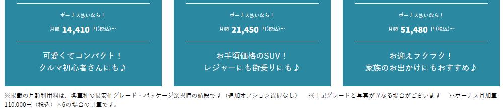 トヨタの車のサブスクリプション(定額制)「KINTO(キント)」の月額料金