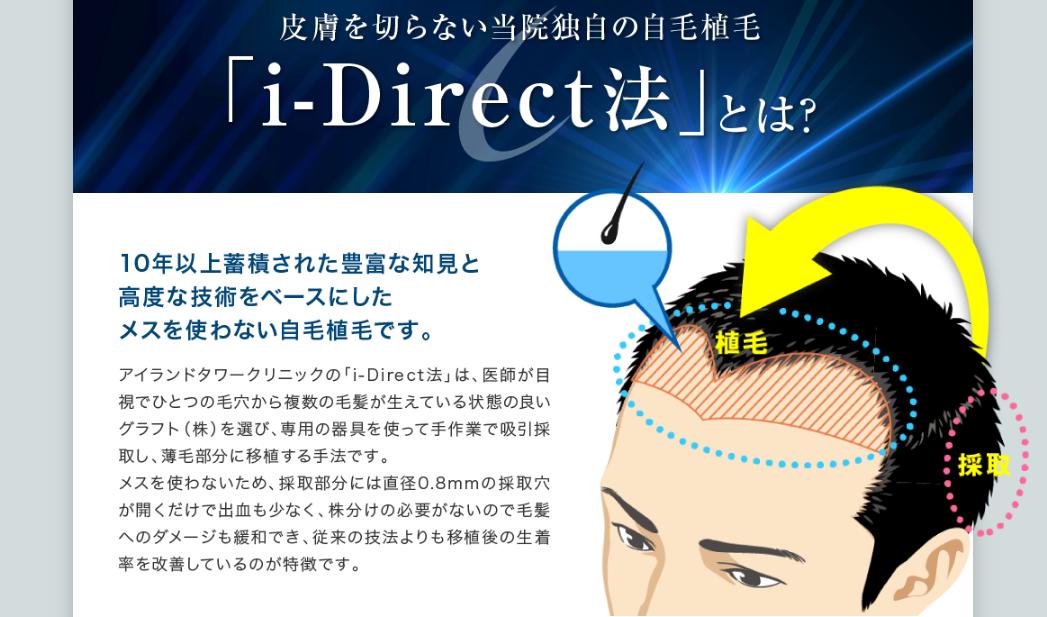 自毛植毛の「アイランドタワークリニック」の「i-Direct法」とは?