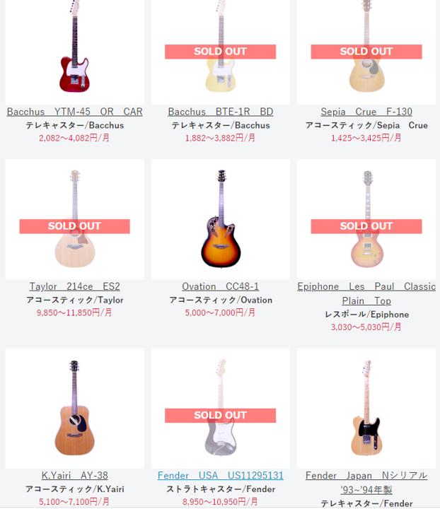 ギターのサブスクリプションサービス「スターペグ・ミュージック」のレンタル状況