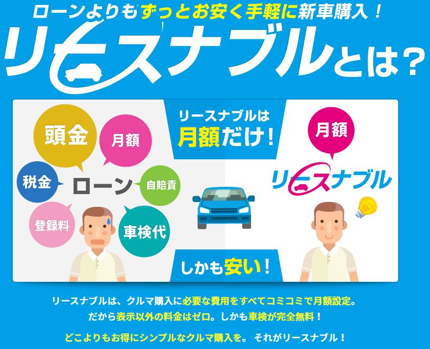 車のサブスクリプション(定額制)カーリース「リースナブル」