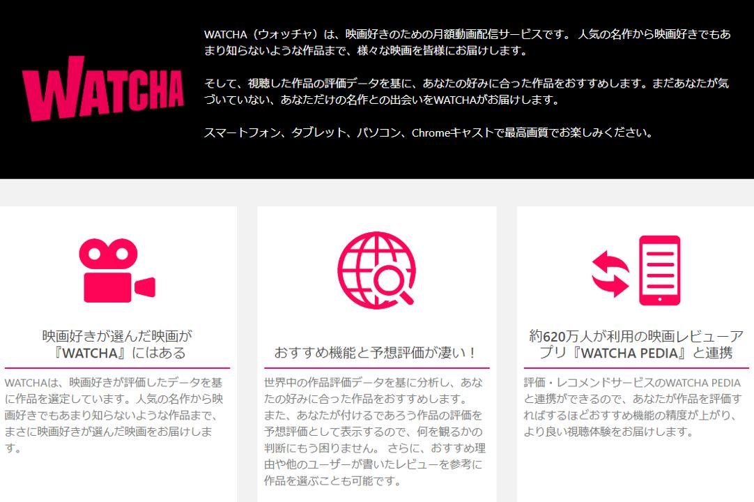 映画のサブスクリプション(定額制)「WATCHA(ウォッチャ)」の特徴